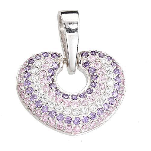 Ciondolo da donna a forma di cuore in argento 925 con zirconi bianchi, rosa e lilla