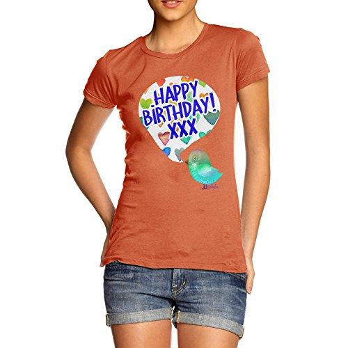 Damen Happy Birdy Birthday T-Shirt Orange