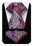 HISDERN Panuelo de lazo de boda Paisley floral Panuelo de corbata de hombre y conjunto de bolsillo cuadrado rojo azul