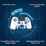 PS4 Elite Controller Soft Touch weiß/blau Custom mit Paddeln, Trigger Stops. Professionelle Qualitätsausrüstung. Turnier-Genehmigt und legal. für FPS Spiele, Cod, Fortnite, Destiny, Black Ops 4