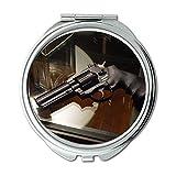 Yanteng Spiegel, Reisespiegel, Waffenschloss, runder Spiegel, Pistole, Taschenspiegel, tragbarer Spiegel