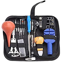 Electrónica Rey Kit de 16 Herramientas de Relojero para la Reparación de Relojes con Estuche
