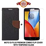"Like It Grab It Stylish Luxury Magnetic Lock Diary Wallet Style Flip Cover Case For Motorola E4 Plus (4th Generation) [5.5"" Inch] (Black Brown) + Premium Tempered Glass Screen Protector....(Transparent)"