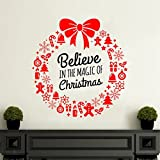 Rawpockets 'Believe in The Magic of Christmas' Wall Sticker (PVC Vinyl, 0.99 cm x 45 cm x 45 cm)
