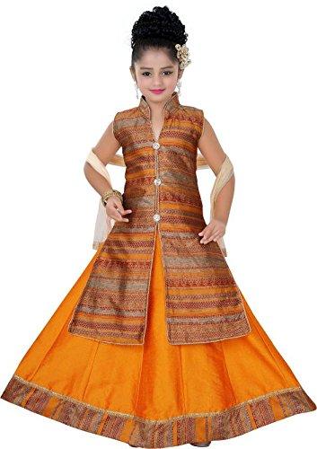 Saarah Girls Ethnic Wear Orange Color Self Design Lehenga, Choli and Dupatta...
