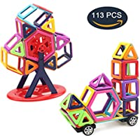 Mini Blocchi Costruzioni Magnetici, DUTISON 113 pezzi Deluxe versione giochi Giochi di costruzione magnetica Colorful Construction For Educational e regalo creativo per bambini (113 pezzi)