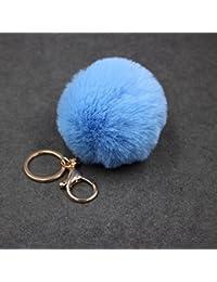 Keychain Beutel-Kette Auto-Anh?nger, Yogogo Kaninchen-Pelz-Kugel-Pl¨¹sch-Auto-Schl¨¹sselring (Blue 1)