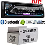 VW Polo 9N - Autoradio Radio JVC KD-R992BT - Bluetooth | MP3 | USB | Android | Multicolor - Einbauzubehör - Einbauset
