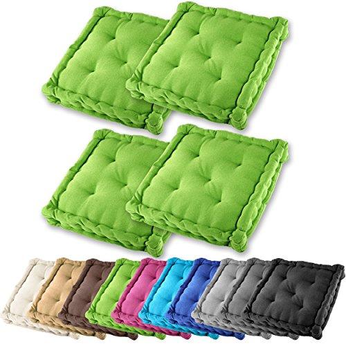 4er Set Gräfenstayn Sitzkissen Stuhlkissen 40x40x9cm für drinnen und draußen aus 100% Baumwolle – in verschiedenen Farben – Steppkissen / Bodenkissen (Apfelgrün)