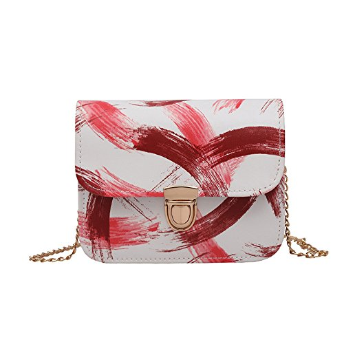 Tasche Bags Loveso Damen Mode Tuschemalerei Muster Buckle PU-Leder Schlanke Umhängetasche Mini Schultertasche Handtasche Kleine Tasche Handytasche (Rot) (Schulter-schultasche Schlanke)