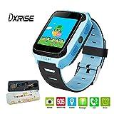 Dxrise - Reloj inteligente infantil (pantalla táctil, GPS con localizador, soporta tarjeta SIM, monitor deportivo, realización de llamadas, despertador, podómetro, WiFi, llamada SOS