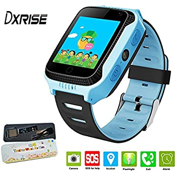 Dxrise - Reloj inteligente infantil (pantalla táctil, GPS con localizador, soporta tarjeta SIM, monitor deportivo, realización de llamadas, ...