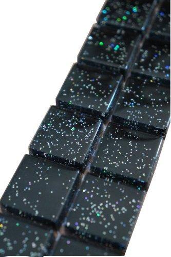Glasmosaik Bordüre Schwarz mit Glitzer Effekt Glänzend 5 x 30 cm Fliese B522
