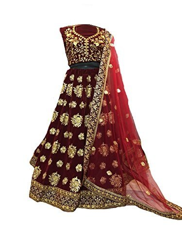 Jil Creation Women's Velvet Semi-Stitched Lehenga Choli (Maroon_Free Size)