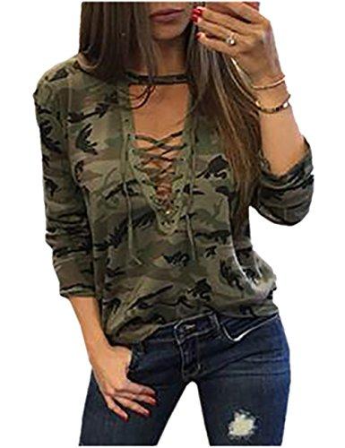 Boutiquefeel Camiseta de Moda impresión de Camuflaje Encaje Empuja hacia Arriba para Mujer