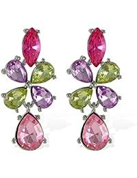 Jade Floral With Teardrop Charm Drop Earring For Women
