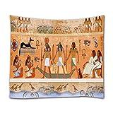 A.Monamour Egypte Ancienne Scène Dieux Et Pharaons Histoire Religieuse Hiéroglyphique Égyptien Peintures Murales Print Tissu Tenture Murale Tapisserie Murale Papier Peint Rideau Mur Décoration Murale