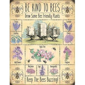 """10229-6/"""" x 8/"""" Beekeeping Bees Honey Vintage Metal Steel Sign Plaque"""