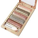 Tefamore 5 Color Glitter Eyeshadow,Makeup Eye Shadow Palette (F)