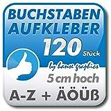 120 Buchstabenaufkleber Klebebuchstaben je 5 cm hoch, Buchstaben Aufkleber A-Z in Wunschfarbe und -schrift