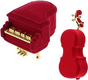 2 Pezzi Cassa di immagazzinaggio di Gioielli di Moda,Collana a Forma di Violino Piano in Flanella orecchino Medaglione Scatola di immagazzinaggio Scatola Regalo per Donne Lady Girls Pratiche co