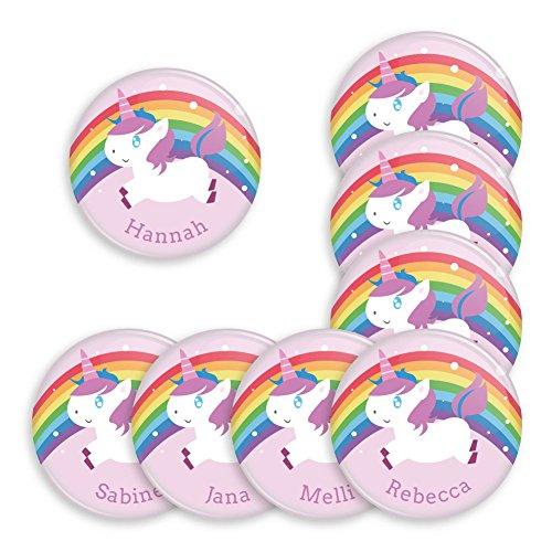 8er Set personalisierbare Buttons für feierliche Anlässe - Geburtstag - Taufe - Babyparty - als Mitbringsel oder Geschenk für Freunde und Familie (38mm mit Magnet Anstecker) Motiv magische Einhörner / Unicorn