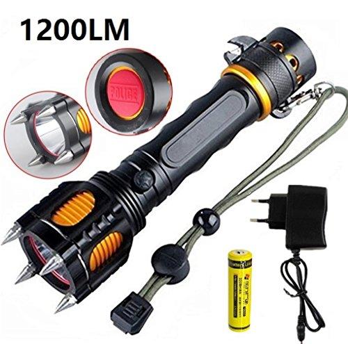 Preisvergleich Produktbild Taktische Selbstverteidigung Taschenlampe CREE L2 1200 Lumen 10W 5 Modi Sirene Flashing Licht mit 18650 Akku und Ladegerät für die Kampierende Jagd Notfalltaschenlampe