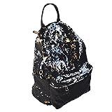 LUOEM Sequin Rucksack Fashion Shiny Bling Glitzer Sequins Rucksack Casual Outdoor Sport Wandern Daypack für Mädchen Frauen (Schwarz)