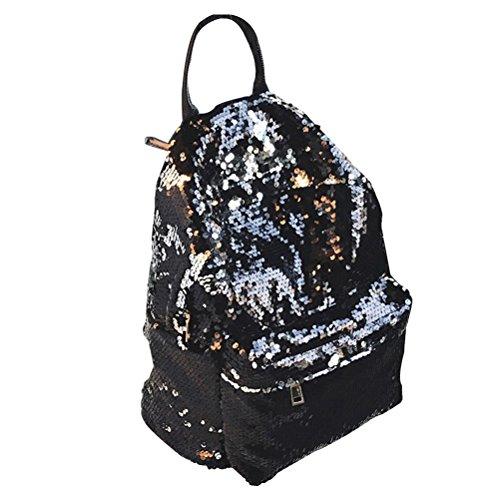 Tinksky Bling Sequins Paillette Zaino Casual Outdoor Sport Escursioni Daypacks regalo di compleanno di Natale per le donne delle ragazze (nero)