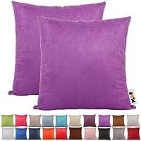 PLANDV Juego de 2 Fundas de Almohada Decorativas de Piel sintética Tono Sobre Tono, Disponibles en 21 Colores y 9 Tamaños (55x55cm, Purple)