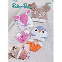 Peter Pan Baby Novelty Hats & Mittens Knitting Pattern 1240 DK