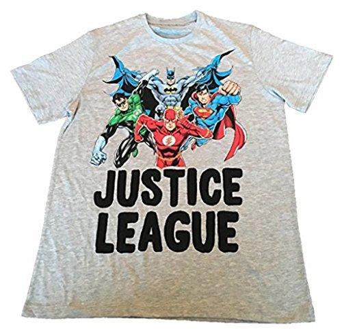 JUSTICE LEAGUE BATMAN,SUPERMAN,FLASH,GREEN LANTERN) - ACTION - T-SHIRT UFFICIALE UOMO - Grey, Medium, Grigio