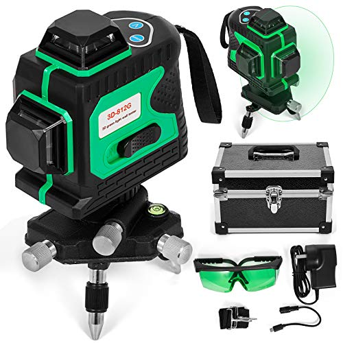 BananaB 3D&12lineG grün laser kreuzlinienlaser 3D 12 linienlaser selbstnivellierend 360 Rotary Laser Level baulaser 360° Rotary Rotationslaser Stativ