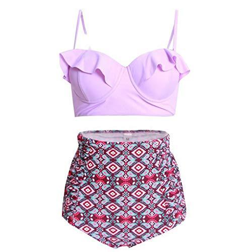 Damen Blumendruck Multicolor Split Badeanzug Beachwear Bikini Honestyi Split tailliertes sexy Badeanzug(Violett,XL)