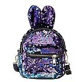 Sequin Rucksack Glitter Umhängetasche Multi Usage Zipper Mit Netten Ohren Schulranzen Für Frauen Mädchen (Blau)