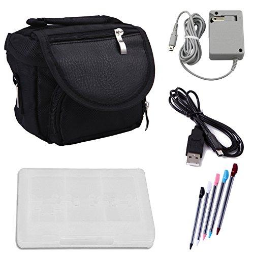 HDE Travel Tasche Bundle für Nintendo 3DS Tragetasche Schutzhülle + Game Card Halter + 5er Pack Stylus Stifte + USB Ladegerät Kabel + AC Power Adapter (Nintendo 3DS XL, 3DS, DSi XL, DSi, DS Lite)