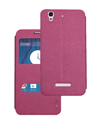Heartly GoldSand Sparkle Luxury PU Leather Window Flip Stand Back Case Cover For Micromax Yu Yureka / Yureka Plus Cyanogenmod - Cute Pink