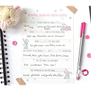 Gästebuch Taufe Babyparty Baby-Shower Geschenk 10 Karten zum Ausfüllen Ratschlägen und Wünschen