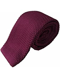 Mens Square End Knitted Tie Wine