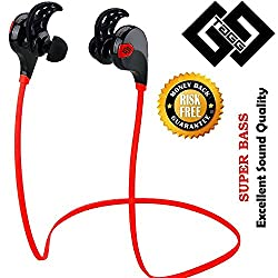 Bluetooth Headset - TAGG Wireless Sports Headphones with Mic || Sweatproof Earbuds, Best for Running,Gym || Noise Cancellation || Stereo Sound Quality || Compatible with Iphones, IPads, Samsung and other Android Devices (Red/Black)