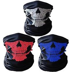 Super Things 3 x Premium multifunción Bandana | Pañuelo con Calavera de Esqueleto Máscaras para Moto Bicicleta Esquí Paintball Gamer Carnaval Disfraz ... (White/Red/Blue)