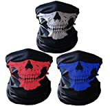 3x Premium Multifunktionstuch | Sturmmaske | Bandana | Schlauchtuch | Halstuch mit Totenkopf- Skelettmasken für Motorrad Fahrrad Ski Paintball Gamer Karneval Kostüm Skull Maske (Weiß, Rot, Blau)