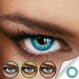 Farbige Jahres-Kontaktlinsen Rainbow AQUA Blau/Türkis - MIT und OHNE Stärke in BLAU - von LUXDELUX® - mit Stärke (-2.00 DPT in Minus)