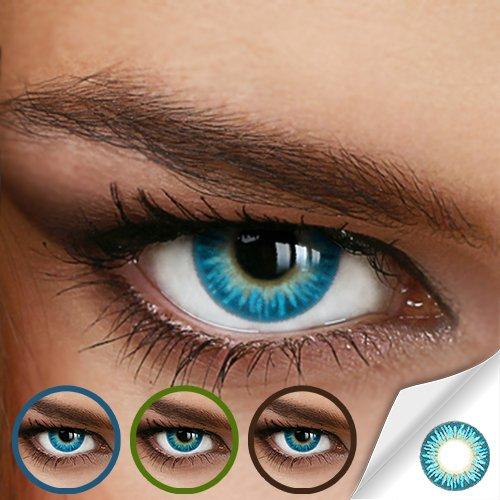 Farbige Jahres-Kontaktlinsen Rainbow AQUA Blau/Türkis - MIT und OHNE Stärke in BLAU - von LUXDELUX® - mit Stärke (-5.00 DPT in Minus)