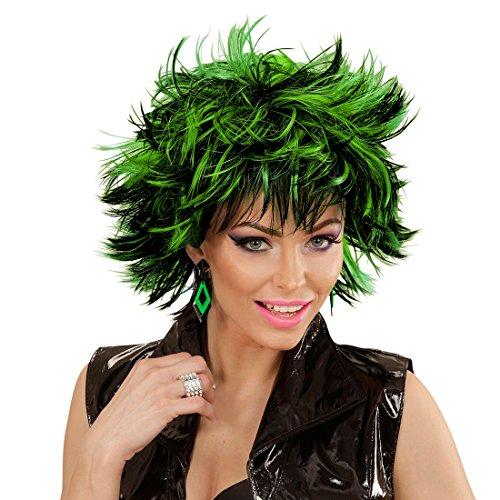 ücke Kurzhaarperücke Damen schwarz-grün Punker Emo Perücke Faschingsperücke Frauen Sexy Karnevalsperücke Vamp Hexenperücke (Vamp Perücke Schwarz Für Erwachsene)