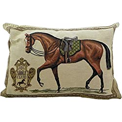 i.stHOME Kissen Pferd - Pferdesattel grün - Zierkissen, Dekokissen Gobelin Art 35x45 cm