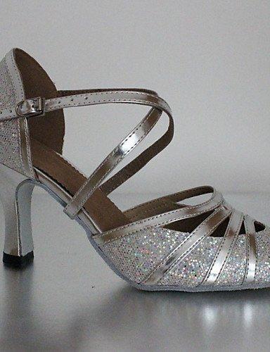 ShangYi Chaussures de danse ( Noir / Argent / Or / Chocolat ) - Personnalisables - Talon Cubain - Similicuir - Latine / Baskets de Danse Silver