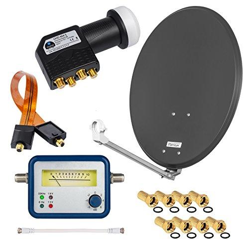 HD Digital SAT Anlage 60cm Spiegel Schüssel Anthrazit ALU Aluminium + Quad LNB Schwarz 4 Teilnehmer zum Empfang von DVB-S/S2 Full HD 3D Ultra HD (UHD) Signale + Sat-Finder + Fensterdurchführung + F-Stecker Gratis dazu im SET