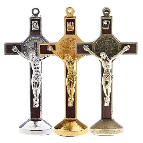 Gazechimp 3pcs Wandkreuz Kruzifix mit Jesus Christus Figur auf Kreuz ,aus Metall