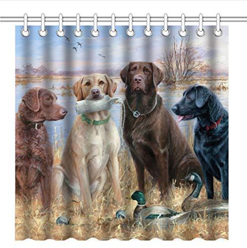 WIXIJAWR Duschvorhang Mit Haken Süße Natur Tiere Labrador Retriever Hunde Welpen Gruppe Und Enten,200X200Cm -